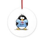 I Love Hugs Penguin Ornament (Round)