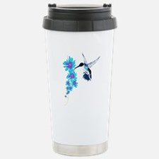 Humming Bird In Blue Stainless Steel Travel Mug