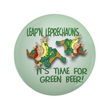 """Green Beer 3.5"""" Button (100 pack)"""