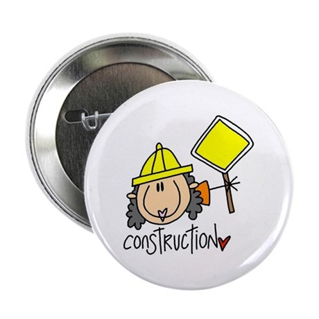 "Female Construction Worker 2.25"" Button"