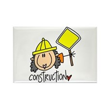 Female Construction Worker Rectangle Magnet (100 p