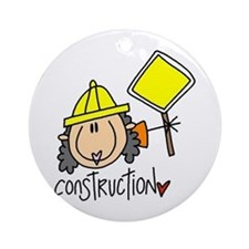 Female Construction Worker Ornament (Round)