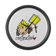 Female Construction Worker Large Wall Clock