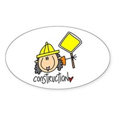 Female Construction Worker Oval Decal