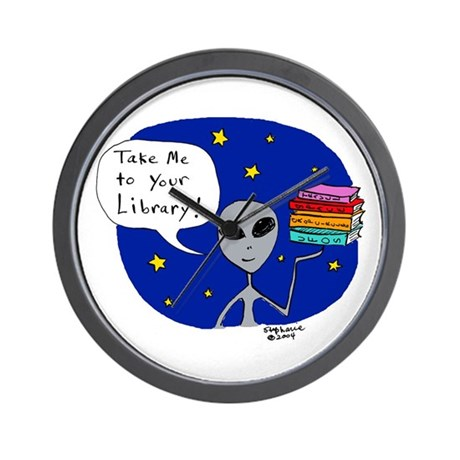 Take Me To Your Library Wall Clock