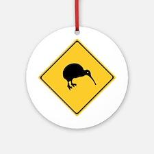 Caution With Kiwis, New Zealand Ornament (Round)