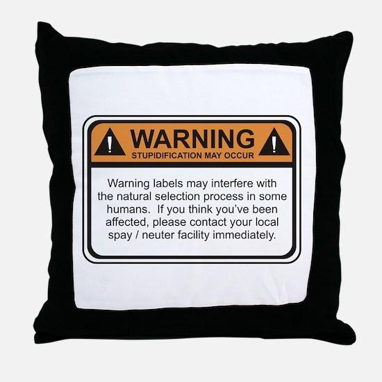 Warning Label Throw Pillow