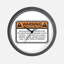 Warning Label Wall Clock