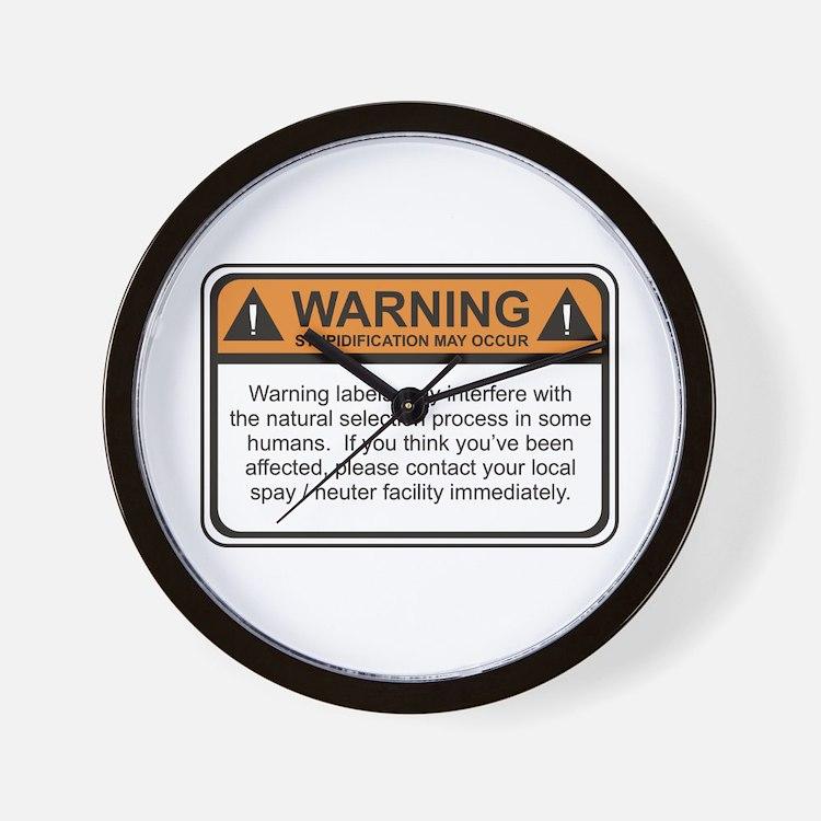 Warning Label Wall Clock