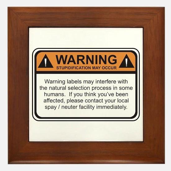 Warning Label Framed Tile