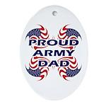 Patriotic Proud Army Dad Oval Ornament