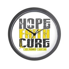 HOPE FAITH CURE Childhood Cancer Wall Clock