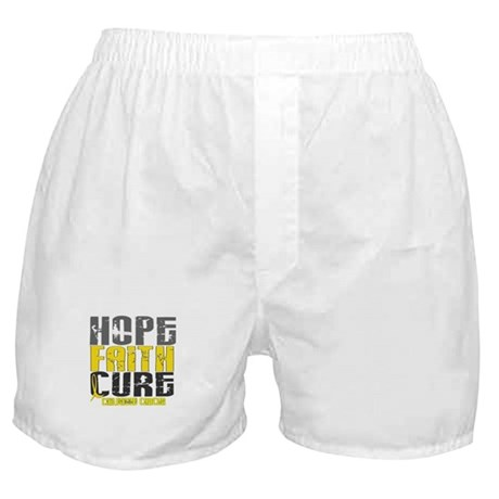 HOPE FAITH CURE Childhood Cancer Boxer Shorts