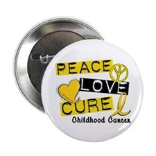 "PEACE LOVE CURE Childhood Cancer 2.25"" Button"