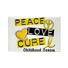 PEACE LOVE CURE Childhood Cancer Rectangle Magnet