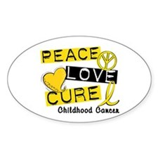 PEACE LOVE CURE Childhood Cancer Oval Decal