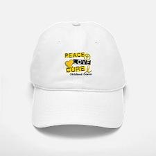 PEACE LOVE CURE Childhood Cancer Baseball Baseball Cap