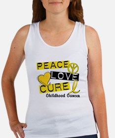 PEACE LOVE CURE Childhood Cancer Women's Tank Top
