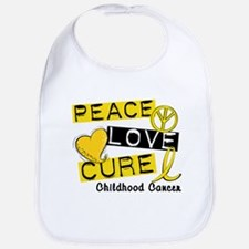 PEACE LOVE CURE Childhood Cancer Bib