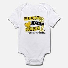 PEACE LOVE CURE Childhood Cancer Infant Bodysuit