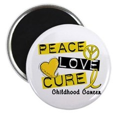 PEACE LOVE CURE Childhood Cancer Magnet