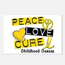 PEACE LOVE CURE Childhood Cancer Postcards (Packag