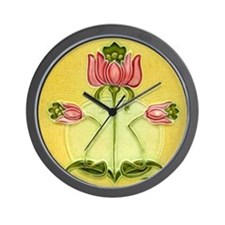 Mission Style Rose Art Tile Wall Clock