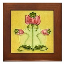 Mission Style Rose Art Tile Framed Tile Plaque