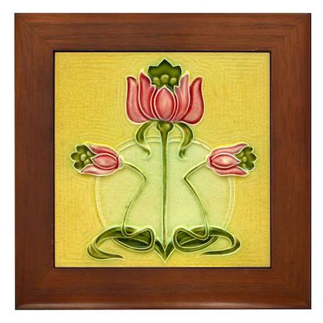 Mission Style Rose Art Tile Framed Tile Plaque