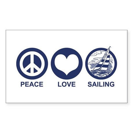 Peace Love Sailing Rectangle Sticker