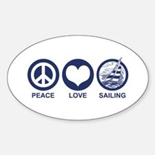 Peace Love Sailing Oval Decal