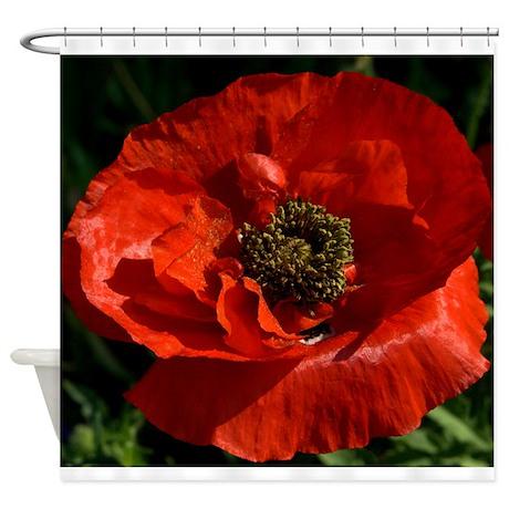 Vibrant Red Poppy Shower Curtain