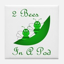 Two Bees In A Pod Tile Coaster