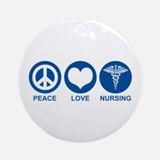 Peace Love Nursing Ornament (Round)