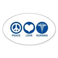 Peace Love Nursing Oval Decal