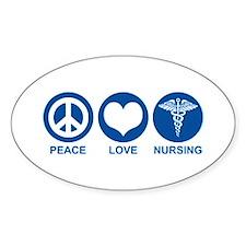 Peace Love Nursing Oval Decal
