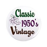 50th birthday vintage button Single