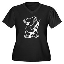 Koala (White) Women's Plus Size V-Neck Dark T-Shir