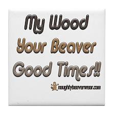 Wood Beaver = Good Times Tile Coaster