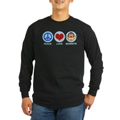 Peace Love Monkeys Long Sleeve Dark T-Shirt