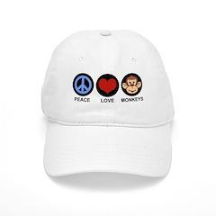 Peace Love Monkeys Baseball Cap