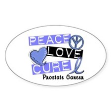 PEACE LOVE CURE Prostate Cancer Oval Decal