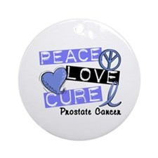 PEACE LOVE CURE Prostate Cancer Ornament (Round)