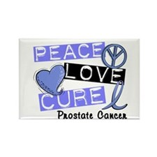 PEACE LOVE CURE Prostate Cancer Rectangle Magnet (