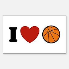 I Love Basketball Rectangle Decal
