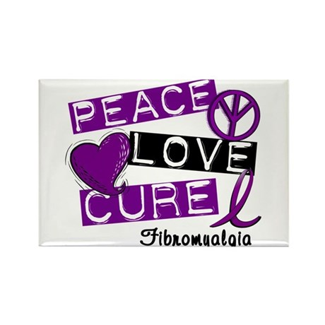 PEACE LOVE CURE Fibromyalgia (L1) Rectangle Magnet