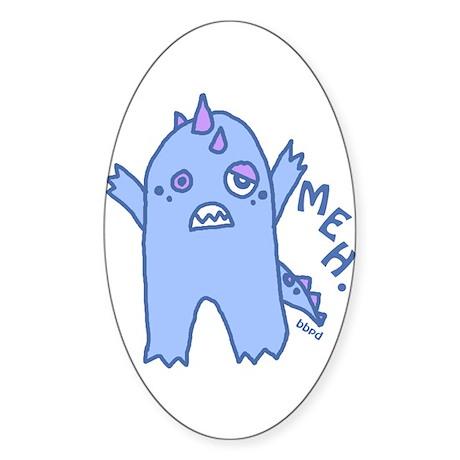 Blue Monster Oval Sticker