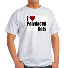 I Love Polydactyl Cats Ash Grey T-Shirt