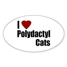 I Love Polydactyl Cats Oval Decal