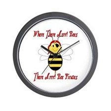 Where There Arrr! Bees Wall Clock